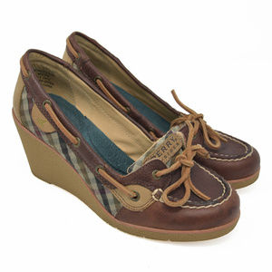 Sperry Top Sider Sz 6.5M Brown Leather Slip Wedge
